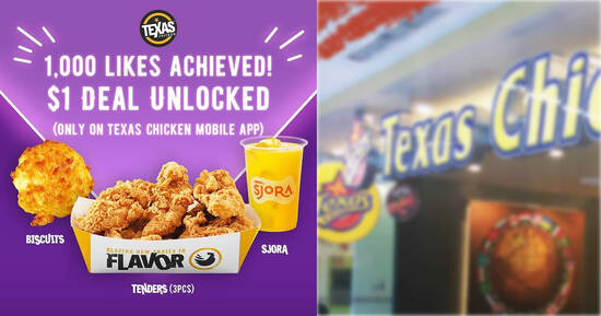 Featured image for (Fully Redeemed!) Texas Chicken S'pore: $1 for 3pc tenders + 1 Biscuit + Sjora meal deal till 28 June 2021