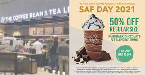 Featured image for Coffee Bean & Tea Leaf: 50% off Pure Dark Chocolate Ice Blended for SAF & HomeTeamNS on 1 Jul 2021