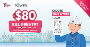 Enjoy Up to $80 Bill Rebate* Off Your SP Utilities Bill and Save More on Your Electricity with Tuas Power this June