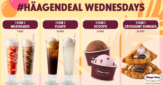 Featured image for 1-for-1 Milkshakes at Funan, Plaza Singapura, Westgate and Hilton Haagen-Dazs outlets on 7 July 2021
