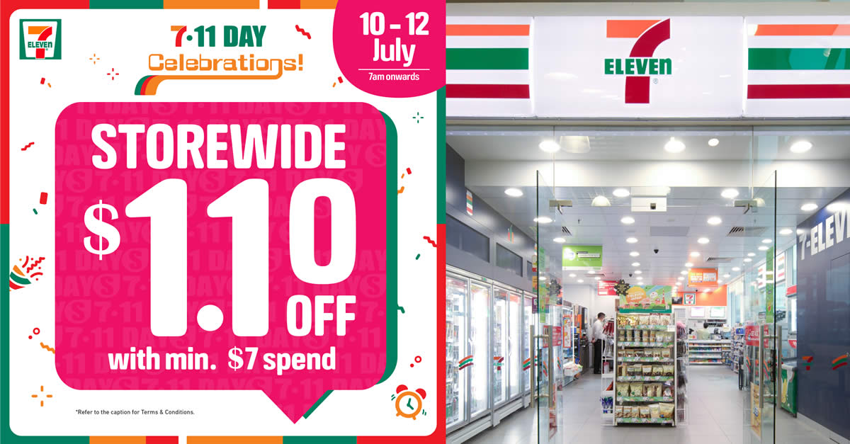 Featured image for 7-Eleven: Enjoy $1.10 off storewide items with a minimum spend of just $7 from 10 - 12 July 2021