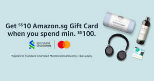 Featured image for Amazon.sg: Get a S$10 Gift Card when you spend min S$100 using SCB cards till 31 July 2021