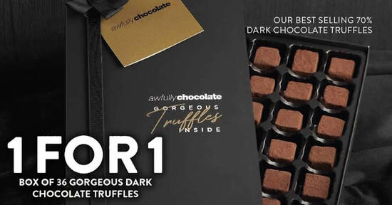 Featured image for Awfully Chocolate: 1-for-1 Box of 36 Gorgeous Dark Chocolate Truffles from 28 July 2021