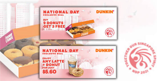 Featured image for Dunkin' Donuts S'pore: Buy 9 Get 3 Donuts Free & more NDP 2021 ecoupons valid till 20 Nov 2021