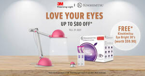 Featured image for FREE Kinohimitsu Eye Bright 30's (worth $59.90) with purchase of any 3M™ Polarizing Task Light* till 31 July 2021