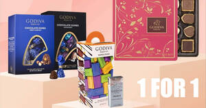 GODIVA S'pore is offering 1-for-1 on selected products in-stores and online till 8 August 2021