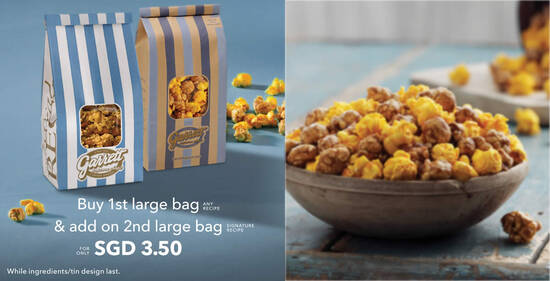 Featured image for Garrett Popcorn: Buy one large bag and add on 2nd large bag for $3.50 till 12 Aug 2021