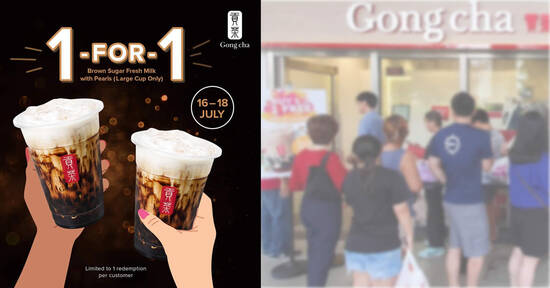 Featured image for Gong Cha S'pore to offer 1-for-1 Brown Sugar Fresh Milk with Pearls at most outlets from 16 - 18 July 2021
