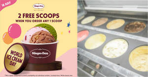 Featured image for Haagen-Dazs S'pore cafes will be offering 2 free scoops when you buy 1 scoop on 18 July 2021