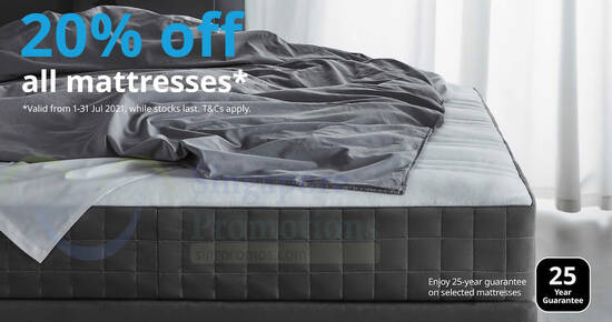 Featured image for IKEA S'pore: 20% off almost all mattresses till 25 Aug 2021