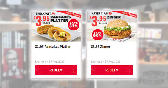 Featured image for KFC S'pore is offering $3.95 Zinger and $3.95 Pancakes Platter for dine-in/takeaway till 17 Aug 2021