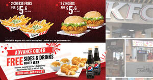 KFC S'pore Delivery NDP Deals: $5.60 for two Zingers, Free Sides & Drinks worth $21 & more from 27 July 2021