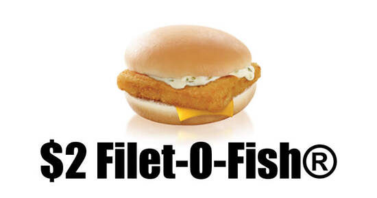 Featured image for McDonald's S'pore: $2 Filet-O-Fish burger with any purchase on weekdays till 30 Sep 2021