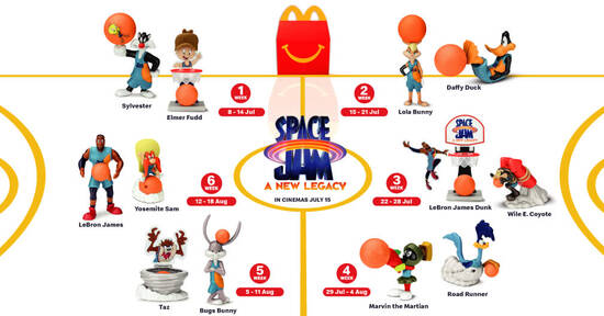 Featured image for McDonald's S'pore latest Happy Meal toys features Space Jam till 18 Aug 2021