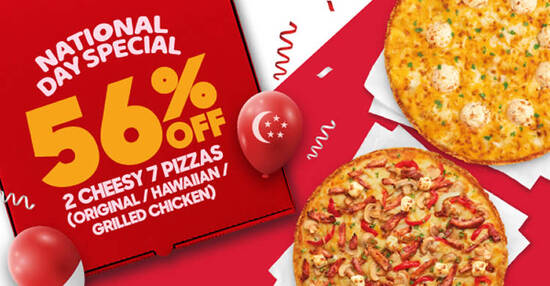 Featured image for Pizza Hut Delivery S'pore: 56% off two Regular Cheesy 7 Pizzas till 11 August 2021