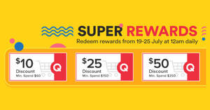 Featured image for Qoo10: Super Sale – grab $10, $25 & $50 cart coupons daily till 25 July 2021