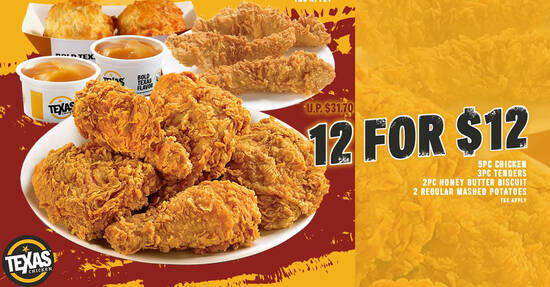 Featured image for (Fully redeemed!) Texas Chicken S'pore is offering a 12-for-$12 deal (usual $31.70) from 1 Aug - 31 Oct 2021