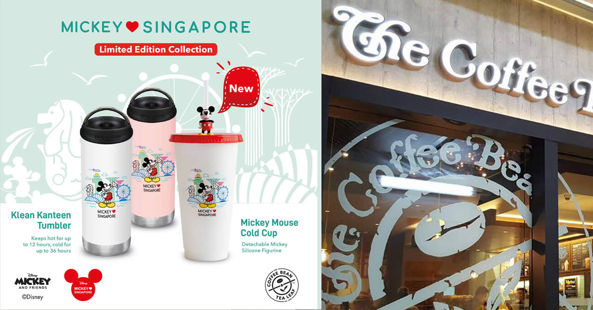 Featured image for Coffee Bean & Tea Leaf S'pore is offering limited edition Mickey Loves Singapore Collection from 29 July 2021