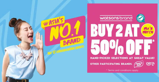 Featured image for Watsons: Buy 2 at 50% OFF for Watsons, Pure 'n Soft and Orita branded products till 19 Sep 2021