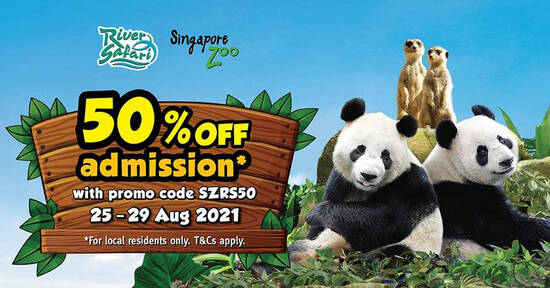 Featured image for 50% off Singapore Zoo and/or River Safari admission Flash Sale (for visits up to 22 Nov) till 29 Aug 2021