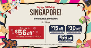 Featured image for BHG: Save up to $56 off reg-priced items in-stores and online till 9 August 2021