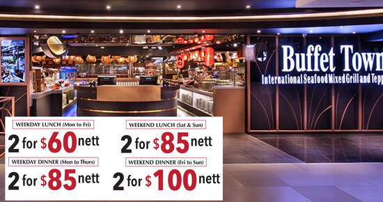 Featured image for Buffet Town is offering two pax buffet deal from $60 nett from 23 August 2021