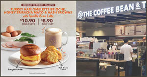Featured image for Coffee Bean & Tea Leaf S'pore: New Turkey Ham Omelette Brioche weekday breakfast set from S$5.45 each (From 30 Aug)