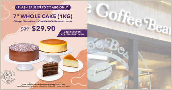 """Featured image for [SOLD OUT] Coffee Bean & Tea Leaf S'pore is offering 7"""" Whole Cake (1KG) at just $29.90 (Usual Price $39) till 27 Aug 2021"""