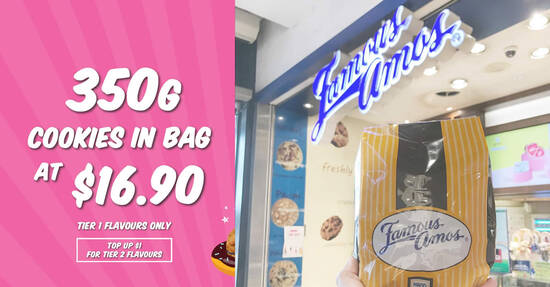 Featured image for Famous Amos S'pore is offering 350g cookies in bag for $16.90 till 31 Aug 2021