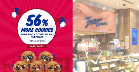 Featured image for Famous Amos S'pore: Free 56% more cookies when you purchase 400g Cookies in Bag from 8 - 9 Aug 2021