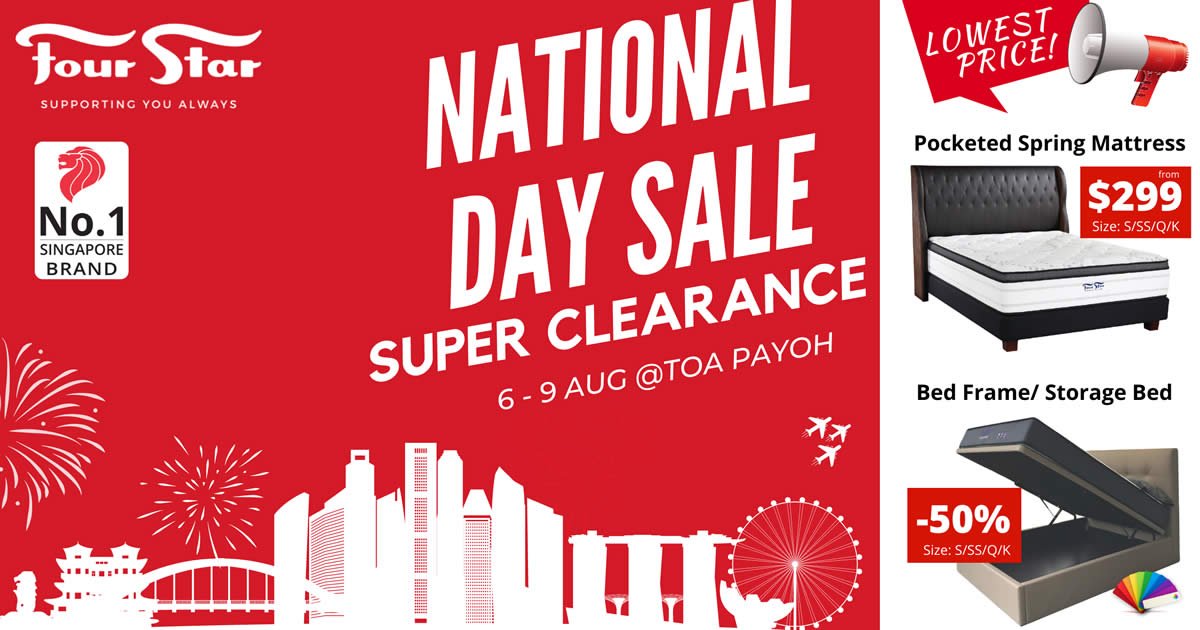 Featured image for Four Star National Day Clearance Sale from 6 - 9 Aug 2021