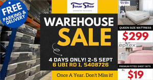 Featured image for Four Star ANNUAL WAREHOUSE SALE at 6 UBI RD 1 is happening from 2 – 5 Sept 2021