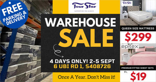Featured image for Four Star ANNUAL WAREHOUSE SALE at 6 UBI RD 1 is happening from 2 - 5 Sept 2021