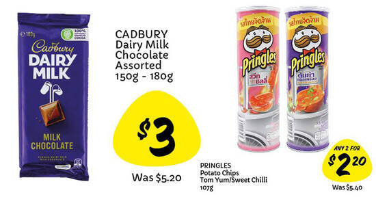 Featured image for Giant is offering $3 Cadbury assorted chocolate bars and Pringles at 2-for-$2.20 (selected flavours) till 25 Aug 2021