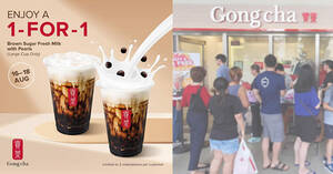 Featured image for Gong Cha S'pore is offering 1-for-1 Brown Sugar Fresh Milk with Pearls at almost all outlets till 18 Aug 2021