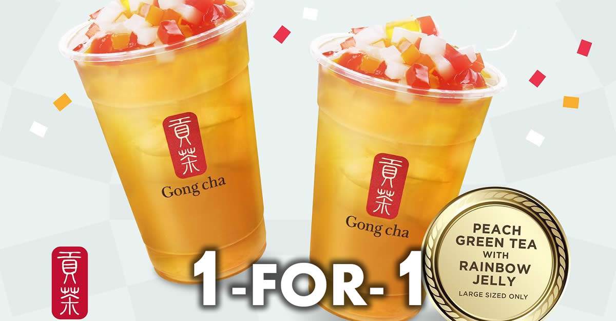 Featured image for Gong Cha S'pore: 1 for 1 Peach Green Tea with Rainbow Jelly (L) from 27 - 29 Aug 2021