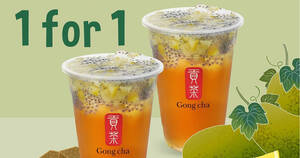 Featured image for Gong Cha S'pore: 1 for 1 Lemon Winter Melon drink with Basil Seeds till 3 Sep 2021