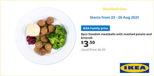 Featured image for IKEA S'pore Meatball Day offers 8pcs Swedish meatballs at $3.50 (usual $6.50) from 23 – 26 Aug 2021