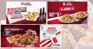 Featured image for KFC S'pore NDP Exclusive Delivery Deals: 1 For 1 Cereal Fries, Free Sides & Drinks worth $21 & more from 16 Aug 2021