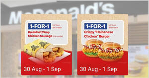 """Featured image for McDonald's S'pore: 1-for-1 Breakfast Wrap Chicken Sausage and Crispy """"Hainanese Chicken"""" Burger (30 Aug – 1 Sep)"""