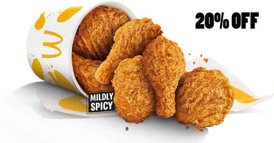 Featured image for McDonald's S'pore: 20% off Chicken McCrispy 6pc (a la carte) from 4 - 5 Sep 2021