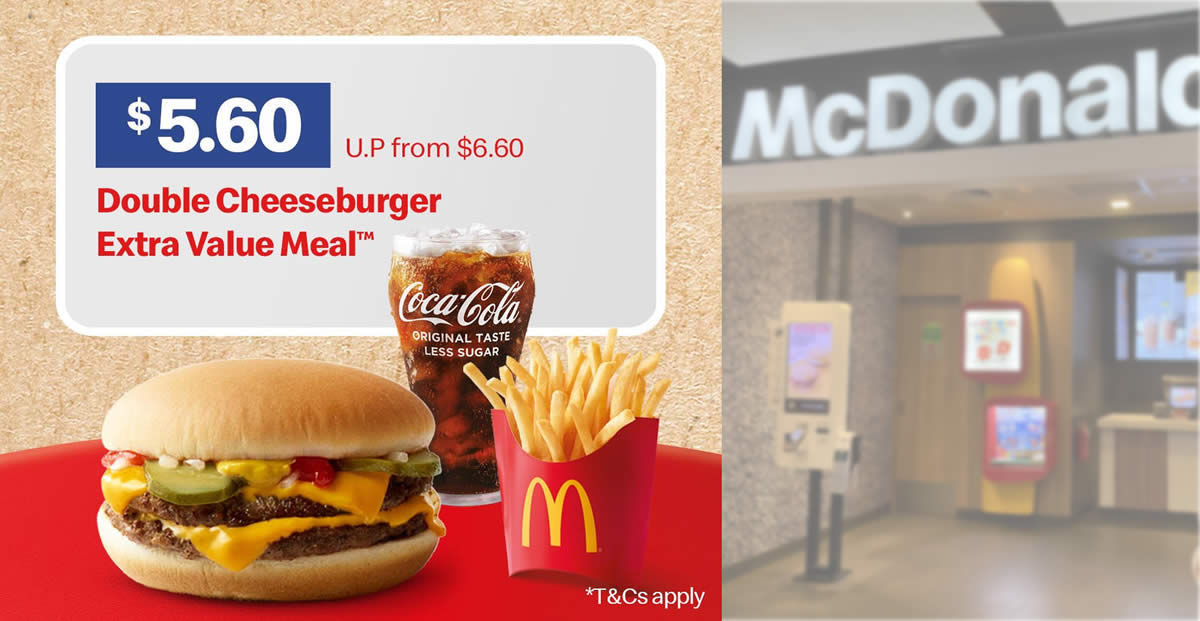 Featured image for McDonald's S'pore: $5.60 Double Cheeseburger Meal (usual $6.60) from 28 - 29 Aug 2021