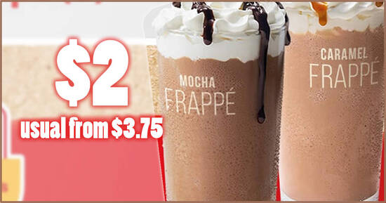 Featured image for McDonald's S'pore is offering $2 Frappe (usual from $3.75) from 2 - 3 Sep with any purchase. Choose Mocha or Caramel.