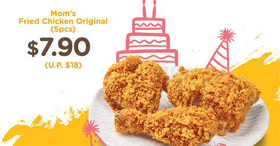 Featured image for MOM'S TOUCH: $7.90 (U.P. $18) 5pcs Mom's Original Fried Chicken promo at 3 outlets till 16 Sep 2021
