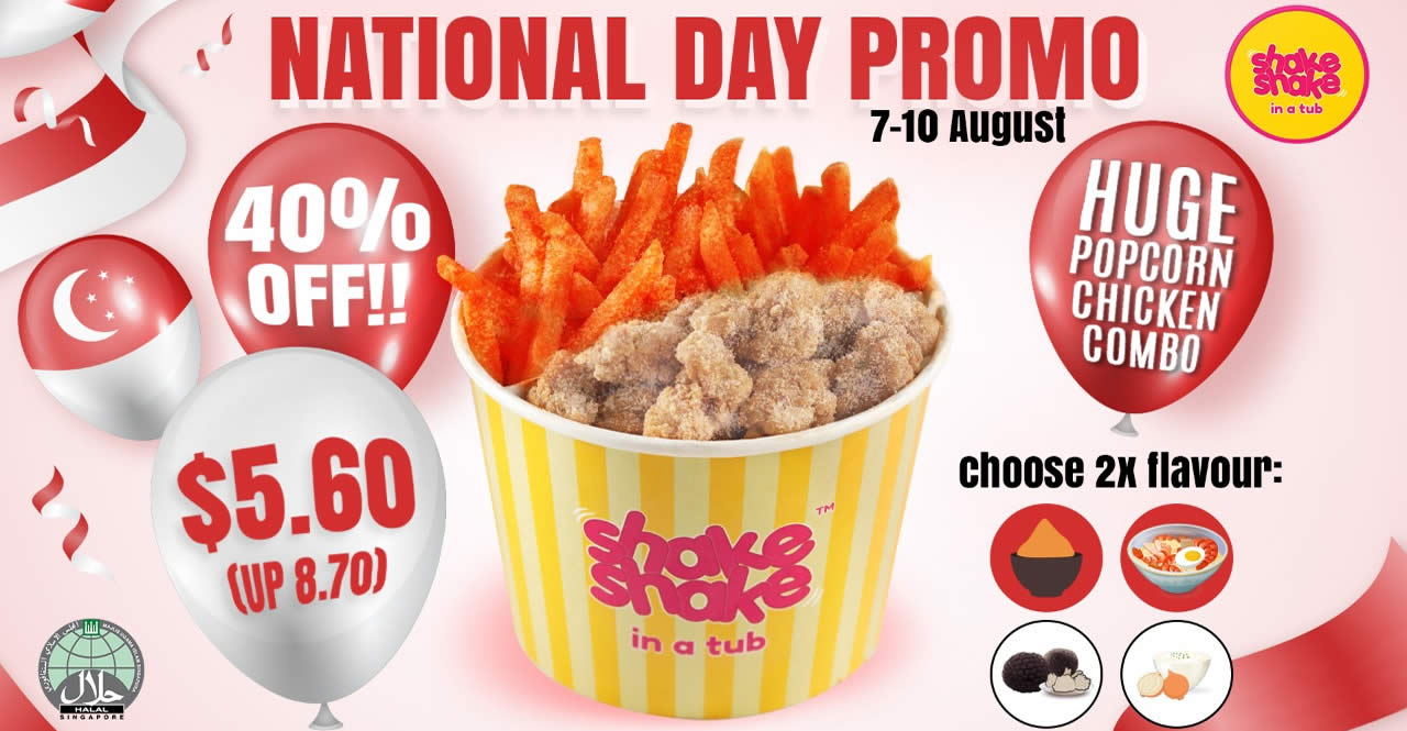 Featured image for Shake Shake In A Tub: $5.60 (40% Off) Huge Popcorn Combo National Day Promotion till 10 Aug 2021