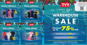 Featured image for TYR Warehouse Sale (Strictly by Appointment Only) from 4 – 12 Sep 2021