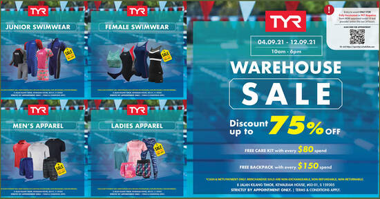 Featured image for TYR Warehouse Sale (Strictly by Appointment Only) from 4 - 12 Sep 2021