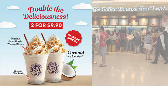 Featured image for Coffee Bean & Tea Leaf S'pore: Get two Coconut Ice Blended drinks at just $9.90! From 13 Aug 2021