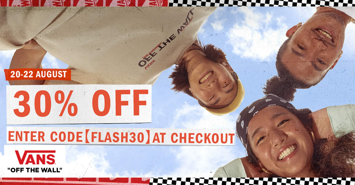 Featured image for 3 DAYS ONLY! Vans Singapore is offering 30% off sitewide at its online store till 22 Aug 2021