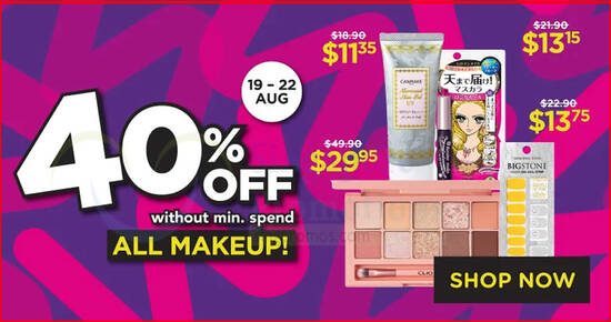 Featured image for Watsons 4-DAYS ONLY: 40% off all makeup - no min spend! Valid till 22 Aug 2021